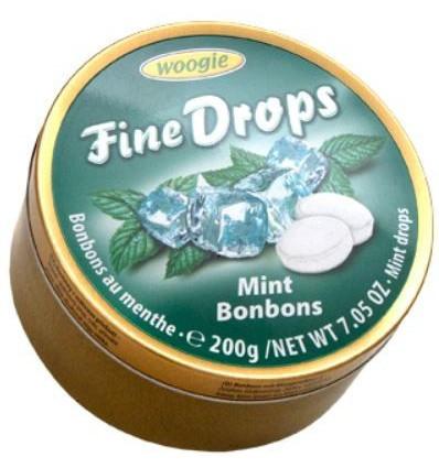 """Woogie - """"Fine Drops"""" bonbóny v plechové dóze Mint  200g"""