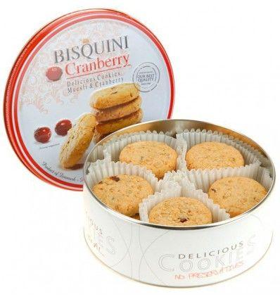Bisquini - máslové sušenky s brusinkami v plechové dóze 150g