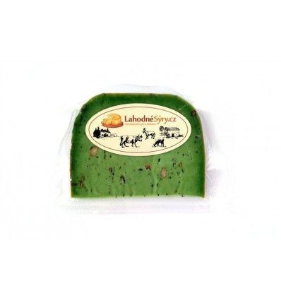 Lahodné sýry - Gouda sýr pesto zelené - VÝSEK CCA 120g