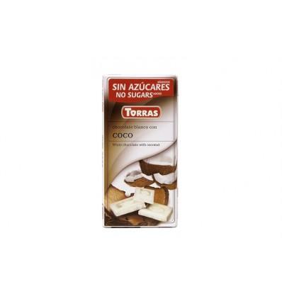 Torras - Bílá čokoláda DIA s kousky Kokosu BEZ LEPKU 75g