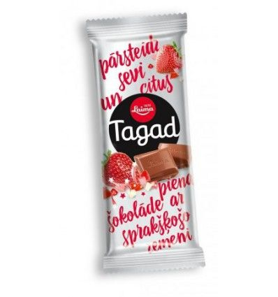 Laima - Tagad - Mléčná jahodová práskací čokoláda 90g